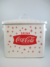 Coca-Cola Enamelware Bread Box Canister White with Arciform Fishtail and Stars