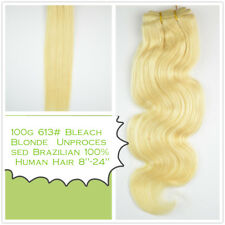 "100g 613 Bleach Blonde Unprocessed Brazilian 100% Human Hair 8""-24"""