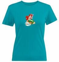 Juniors Girl Women Tee T-Shirt Gift Print Cute Mermaid Princess Ariel Cartoon