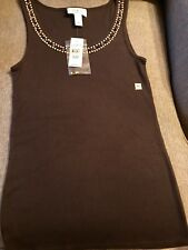 Ann Taylor Loft Medium Tank Top Petite Brown With Embellishments New With Tags