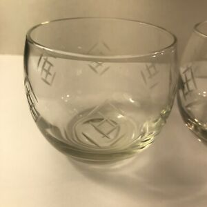 Mid Century Glass set Of 2 Roly Poly Diamond Cut  Glasses Atomic 8OZ Perfect
