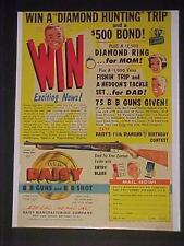BOYS COWBOY~DAISY TOY B-B GUN PUMP AIR RIFLE ART PRINT AD~ VINTAGE ORIGINAL 1961