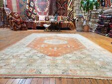 "Bohemian Vintage 1950-1960's Muted Natural Dye Wool Pile Oushak Rug 6'x8'9"""