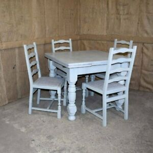 PAINTED OAK EXTENDING DINING TABLE & 4 CHAIRS - LONDON AND LOCAL DELIVERY OPTION