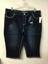 cc94443861 NWT Cato Revolt Denim Crop Jeans Soft Wear Plus Size 24W Blue Dark Wash   845L