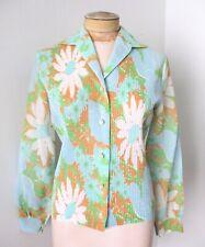 New listing Vtg 60s Blue Coral Mod Flower Power Daisy Sheer Cotton Tuxedo Blouse Top 10