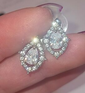 Tear Drop Diamond Stud Diamond Shaped Halo Earrings 18k White Gold Finish S925