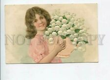 3170125 Embossed Girl w/ Lily of Valley in Basket Vintage Pc