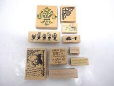 Lot of 10 Rubber Stamps Fleur de Lis Herbs Illuminata Shoes Corner Hearts Hugs