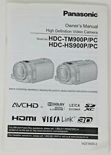 Panasonic Video Camera 175 Page Owners Manual for HDC-TM900P/PC & HDC-HS900P/PC