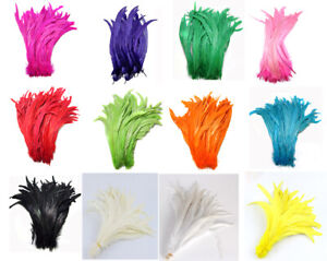 """Hot 14-16""""Long Dyed Rooster COQUE Tail Feathers Halloween/Costume/Craft"""