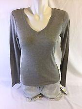 I.N.C Women Gray Shirt Long Sleeve Size M  55% Cotton 45%rayon Bin59#16