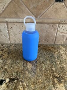 BKR Glass Water Bottle with Smooth Silicone Sleeve 500 ML 16 OZ Periwinkle Blue
