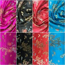 Stunning Brocade Chinese Oriental Dragon Silky Satin Dress Fabric Material 44""