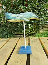 More details for fair trade hand carved made wooden blue whale sea marine sculpture ornament