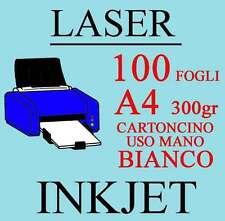 Carta Cartoncino A4 100 Fogli Bianco Uso Mano 300 gr. Stampante Laser Inkjet
