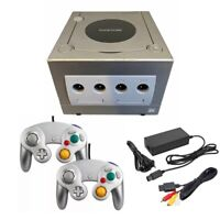 Platinum Silver Nintendo Gamecube Console w/ 2 Controllers