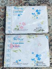 Vintage Wamsutta  Floral Twin Flat Sheets Set Of 2