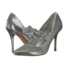 7d6474be66df Michael Kors Silver Sequin Mary Jane Bow Paris High Heel Pumps 9 NIB