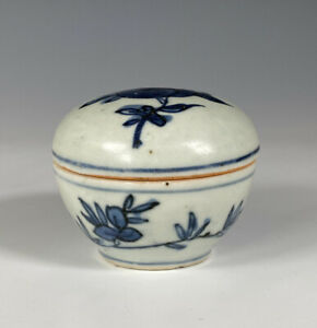 Antique Chinese Blue And White Porcelain Box Ming Dynasty