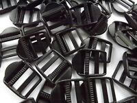 25mm Black Plastic Ladderlock Rucksack Type slide Buckles for 1 inch Webbing