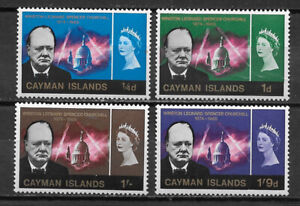 CAYMAN ISLANDS , UNITED KINGDOM ,1966 , CHURCHILL , SET OF 4 STAMPS ,  PERF, VLH