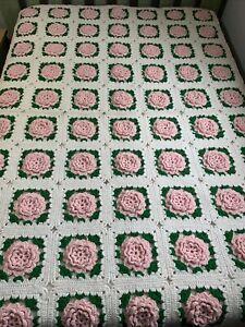 Vintage Crochet Afghan Pink 3D Rose 57x76 Granny Squares