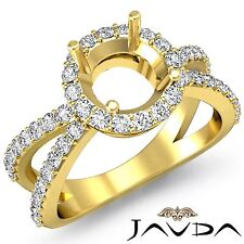 Halo Diamond Engagement Round Semi Mount Ring Split Shank 14k Yellow Gold 0.75Ct