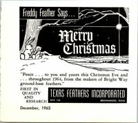 Texas Feathers Inc Merry Christmas Freddy Feather Mini 1963 Vintage Print Ad