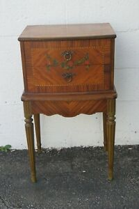 French Carved Inlay Hand Painted Nightstand Side End Bedside Table 2460