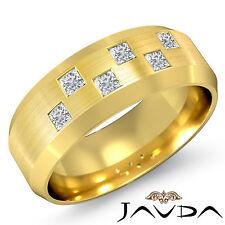 Princess Bezel Set Diamond Mens Half Wedding Band 8mm Ring 14k Yellow Gold 0.5Ct