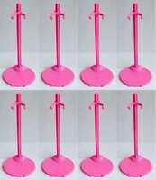 8 PCS Pink Stands / Display For Barbie & KEN dolls B01