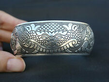 "Arch Cuff Bracelet -7 1/2"" Mighty Inward Edged Huge Thick Tibetan Carved Lion"