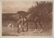 ANTIQUE EQUESTRIAN HORSE SHOE SHOEING GREYHOUND DOG HEYWOOD HARDY OLD ART PRINT