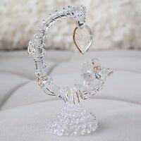 Beautiful! Vintage Two Birds & Tree Branch Figurine Hand Blown Glass! Lovebirds