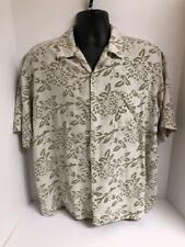 Vintage Silk Circa 1969 Beige Floral Pocket Camp S/S Shirt Mens Sz XL