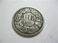 Suisse. Switzerland. 1 Franc. Argent. 1877