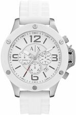 A|X Men's Armani Exchange Chronograph White Silicone Strap Watch AX1525