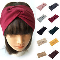 Women Cotton Headband Turban Makeup Elastic Hair Band Twisted Knotted Headwrap P