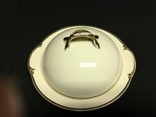 Vintage Johnson Brothers White Covered Butter Dish with Gold/Black Trim