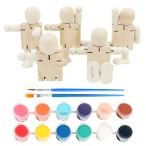 5Pcs Unfinished Wooden Peg Dolls Wood People Figures Bodies DIY Art Craft Decor