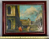 Original oil on panel city scape painting Nicolas Bertin attr Turin architecture
