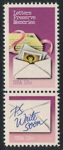 Scott 1805-06- Letters Preserve Memories, P.S. Write Soon- MNH Pair- 15c 1980