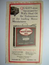 WOLF'S-HEAD OIL 1916 AD + LEE Tires NON SKID PUNCTURE-PROOF CONSHOHOCKEN, PA