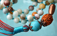 Amazonite & Turquoise Tibetan Hand Knotted Jaap Mala Beads Necklace -Energized