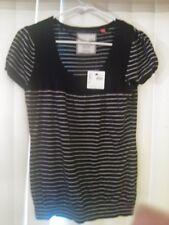 ESPIRIT NEW Tag Shirt Black White Stripes Cap Sleeves Cotton Size Medium