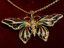 Camrose Kroff Jacqueline Kennedy Collection Butterfly Necklace Pin Gold Tone