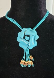 Statement necklace, rose leather charm, w/wood beads, black, camel, blue, brown