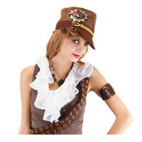 Adult Teen Women's Steampunk Halloween Cosplay Costume Military Style Cadet Hat