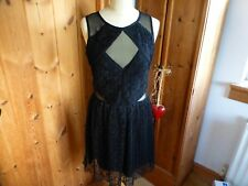 Gorgeous RIVER ISLAND black lace dress, cut out sheer side panels 12 sleeveless